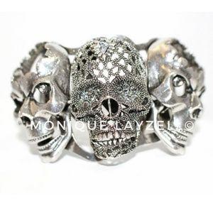 Jewelry - Silver Tone Metal Color 3 Skull Head Bracket Cuff